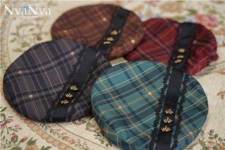 ロリータ NyaNya 魔法学校 ベレー帽 英国風 チェック柄 帽子 ヘッドドレス クラロリ クラシカル 王子 男装 loli1478