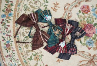 ロリータ NyaNya 魔法学校 カチューシャ 英国風 チェック柄 帽子 ヘッドドレス クラロリ クラシカル KC loli1479