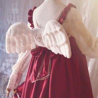 ロリータ エンジェルウィングリュック 天使の羽 小さい ホワイト 甘ロリ コスプレ ふわふわ かわいい 羽 リュック loli1499