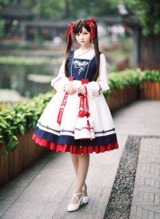 ロリータ SIKA LOLITA Qilolita 華ロリ ジャンパースカート ジャンスカのみ 中華風 宮廷 アジアン リボン 刺繍 loli1545