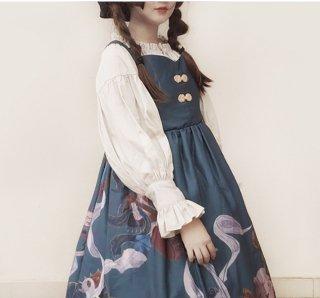 ロリータファッション 妖猫 ブラウス フリル 長袖 パフスリーブ ちょうちん袖 甘ロリ 華ロリ クラロリ トップス かわいい ロリィタ loli1587
