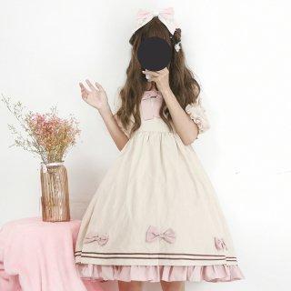 ロリータ ワンピース ワンピのみ OP フリル リボン 甘ロリ ピンク 優しめカラー 姫 スイート パフスリーブ loli1598