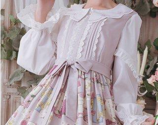 ロリータ お嬢様ブラウス スカラップ 長袖 上品 トップス 甘ロリ 姫ロリ ブラウスのみ 春夏 フリル袖 loli1640