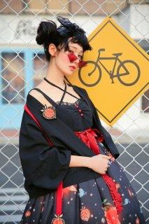 ロリータ SIKA LOLITA ホオズキ 羽織り 上着 リボン ブラック アジアン 和ロリ 和風 華ロリ loli1677