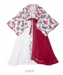 ロリータ SweetDreamerVintage TYPE A 牡丹柄 和服風ガウン 受注生産 和ロリ 上着 羽織り プリーツ loli1680