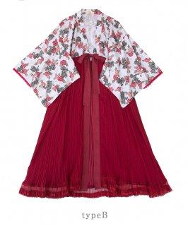 ロリータ SweetDreamerVintage TYPE B 牡丹柄 和服風ガウン受注生産 和ロリ 上着 羽織り プリーツ loli1681
