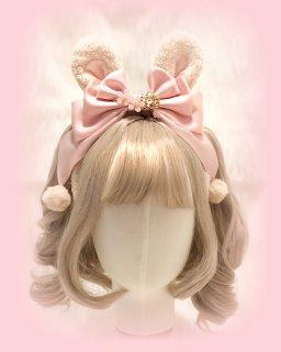 【現品限り】ロリータ モコモコうさ耳 カチューシャ リボン ウサギ ふわふわ 甘ロリ メイド  かわいい パール ヘッドドレス loli1734