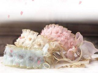 ロリータ 櫻雪 ヘッドドレス 桜 コサージュ 透け感 春夏 甘ロリ 姫ロリ 和ロリ リボン 透け感 かわいい loli1746