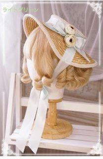 ロリータ クラシカルカンカン帽 帽子 コサージュ 顎リボンつき クラロリ 姫ロリ 甘ロリ お茶会 森ガール loli1763