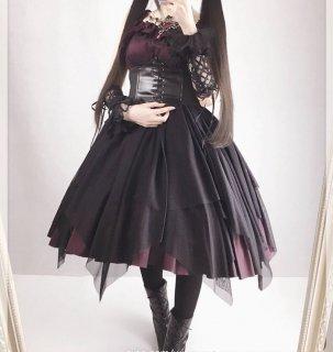 ロリータ 黒ロリ シフォンドレス ロング丈 フリル ゴスロリ ロリータファッション ロリィタ hi0796