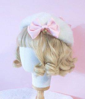ロリータ ふわふわ猫のベレー帽 白色 リボン 猫モチーフ 秋冬 帽子 鈴 甘ロリ カジュアル かわいい 猫 loli1814
