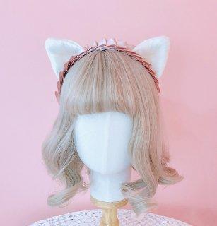 ロリータ ピンクリボン猫耳カチューシャ 白猫 ふわふわ ヘッドドレス 甘ロリ コスプレ メイド かわいい 小物 loli1816