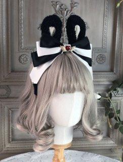 ロリータ うさ耳カチューシャ ブラック×ホワイト ハート モコモコ ウサギ コスプレ メイド 甘ロリ ヘッドドレス? loli1820