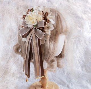 ロリータ ティラミスカラー コサージュ ヘッドドレス 花 クラシカル 大きめ ヘアクリップ ヘアアクセサリー 豪華 loli1833