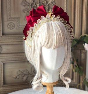 ロリータ red×offwhite リボンカチューシャ 段リボン 透け感レース ゴージャス クラシカル 姫ロリ ゴスロリ ヘッドドレス loli1850