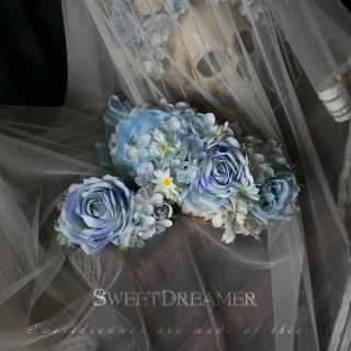 【受注生産 納期40日】ロリータ sweet dreamer ブルーの薔薇が上品なヘッドアクセサリー コーム フラワー アクセサリー  エレガント ホワイト loli066005
