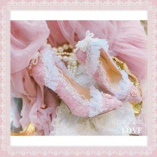 ロリータ フリルいっぱい ピンヒールパンプス ピンク カメオ クラシカル 上品 リボン パール パステルカラー 甘ロリ loli071003
