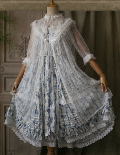ロリータ Sweet Dreamer Vintage 花柄ワンピース+レースアウター セット販売 レース フリル 透け感 クラロリ loli1856
