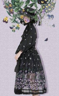 ロリータ Sweet Dreamer Vintage 夜の桜草 和服風ガウン+リボンベルト クラロリ クラシカルロリータ 上着 羽織 刺繍  loli1857