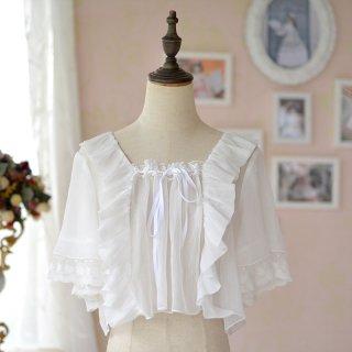 ロリータ Doris Night Lolita シフォンレースブラウス ブラウスのみ 半袖 透け感 トップス 甘ロリ レース loli1878