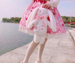 即納商品 ロリータファッション ロリータ うさぎさん ぬいぐるみバッグ 斜めがけバッグ かばん アクセサリー 甘ロリ ピンク リボン ふわふわ いちご hi0810