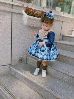 ロリータファッション ベビー キッズ サイズ 子供用 ロリータドレス リボン 又は 帽子 ベアー クマ フリル 長袖 ブルー hi0816
