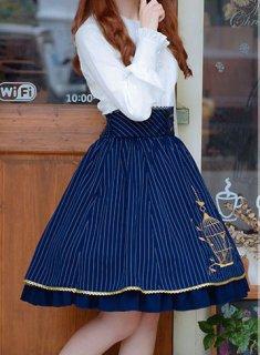 ロリータ ストライプ鳥籠刺繍スカート スカートのみ ストライプ ハイウエスト フリル クラロリ