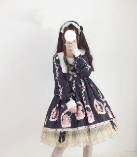 ロリータ 森の子リスお嬢様ワンピース ワンピ+ヘッドドレス セット 長袖 甘ロリ