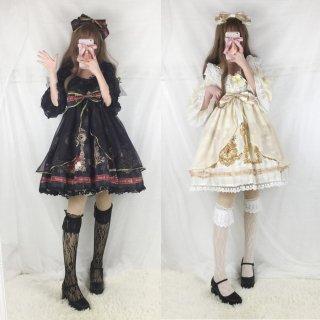 ロリータ ロイヤルリボン姫袖ワンピース ワンピ+カチューシャ セット ゴスロリ