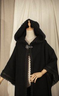 ロリータ Sweet Dreamer Vintage ブラックマントコート フード付き アウター レース 魔女 ゴスロリ 黒ロリ loli1937