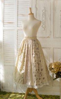 ロリータ Sweet Dreamer Vintage パッチワーク風 スカート ロング丈 綿麻 クラロリ 森系 花柄 レース loli1948