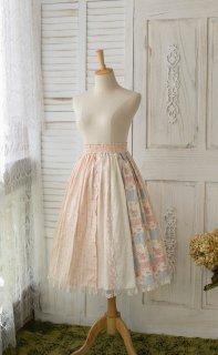 ロリータ Sweet Dreamer Vintage パッチワーク風 スカート ピンク ロング丈 綿麻 クラロリ 森系 花柄 レース loli1949