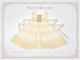 ロリータ SweetDreamerVintage エプロンワンピース 重ね着用 透け感 フリル リボン ノースリーブ loli2005
