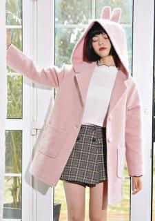 ウールコート アウター レディースファッション うさ耳 耳付き フード付き ロリータファッション ショート丈 ゆったり ポケット付き trlolitr0001