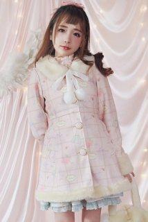 ウールコート ファーコート アウター ロリータファッション チェック柄 花柄 リボン ウエストベルト 秋冬 大人可愛い ふわもこ trlolitr0005