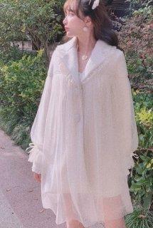 ウールコート チュール アウター ロリータファッション フリル 透け感 リボン 甘め 秋冬 大人可愛い trlolitr0007