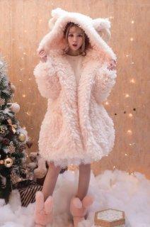 ロリータ 羊さん フード付き もこもこコート ピンク ホワイト あったか 新作 秋冬 防寒 可愛い 甘ロリ 耳 loli095003