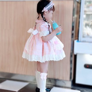 ロリータ キッズサイズ メイドさん 半袖ワンピース ピンク 可愛い エプロン 膝丈 レース リボン ハロウィン loli095004