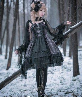 【納期30日】NyaNya 十六夜の歌姫 リボンがいっぱい ゴシック ジャンパースカート ゴシック 膝丈 クール シフォン ドレス loli099007