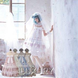 【受注生産】NyaNya 十六夜の歌姫 ハイウエスト クラシカル ジャンパースカート ゴシック リボン レース レッド ネイビー ウエストマーク 2WAY ik0337