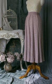 【受注生産】ロリータ Sweet Dreamer Vintage ダイヤモンド デザイン ウール ロングスカート グレーパープル あったか 新作 秋冬 Aライン loli102001