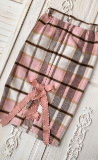 【受注生産】ロリータ Sweet Dreamer Vintage チェック柄 膝丈 リボンタイトスカート スリットピンク ウール 可愛い 新作 パステルカラー 可愛い  loli102008