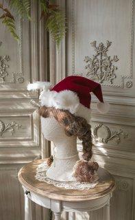 ロリータ Sweet Dreamer Vintage クリスマス限定 ウサギ耳 サンタクロースハット 冬 レッド ネイビー 新作 コーム 耳 ファー 可愛い チェック loli102010