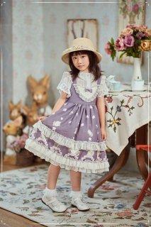 【受注生産】ロリータ ドレス キッズロリータ フリルいっぱい 上品ジャンパースカート パープル ブルー リボン レース シフォンレース 可愛い  oyako083007