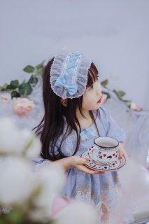 【受注生産】ロリータ キッズロリータ クロスリボン ヘッドドレス ブルー リボン パール 上品 可愛い アクセサリー oyako083003