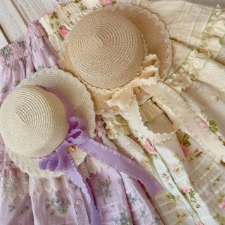 ロリータ Sweet Dreamer Vintage リボンが可愛い 麦わら帽子 パープル ベージュ レース 夏 チャーム 二重 クラシカル 可愛い フラワー 花 loli103001
