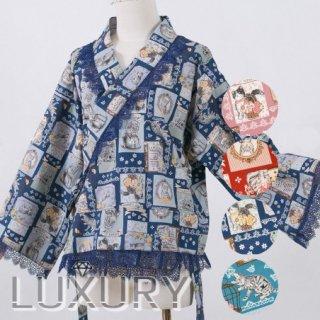 【即納品あり】ロリータ Sweet Dreamer Vintage ネコちゃん 着物デザイン ブラウス 和ロリ ポップ 可愛い レース リボン チェック柄 ブルー レッド loli104002