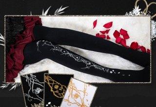 ロリータファッション 薔薇 蔦 デザイン タイツ 120デニール ホワイト ブラック バラ クラシカル 上品 秋冬 あったか 防寒 loli106002
