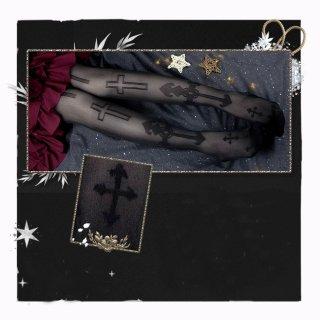 ロリータファッション 十字架 デザイン ゴシック ストッキング 透け感 シースルー クロス クラシカル ゴス loli106004