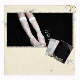 ロリータファッション クロスリボン デザイン ロング ストッキング ソックス ホワイト ブラック 靴下 可愛い 透け感 シースルー loli106005